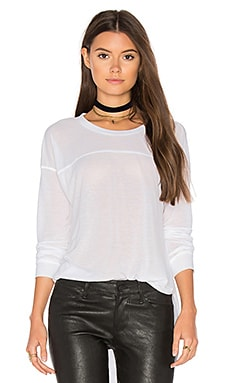 Heathered Long Sleeve Crew Neck Tee in Weiß