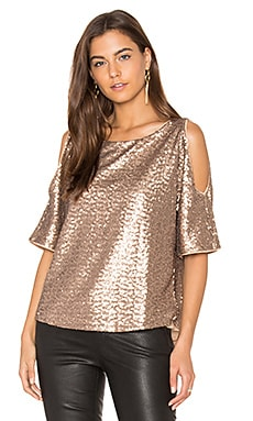 Sequin Embellished Cut Out Shoulder Top in Copper