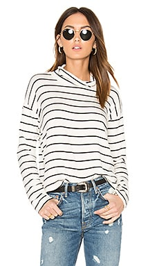 Dune Stripe Mock Neck Top en Blanc & Noir