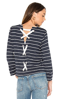 Dune Stripe Lace Up Back Top in Navy & White