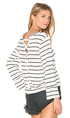 Dune Stripe Lace Up Back Top in White & Black