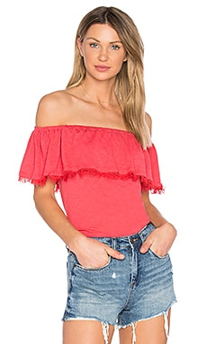 Off Shoulder Ruffle Top in Cape Red