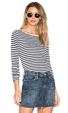 French Stripe Long Sleeve Tee in White & Navy