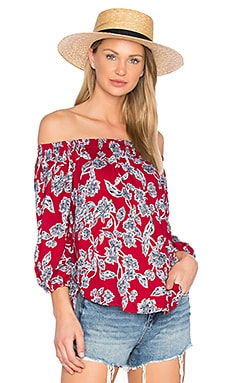 Etched Floral Blouse en Carreaux Rouge
