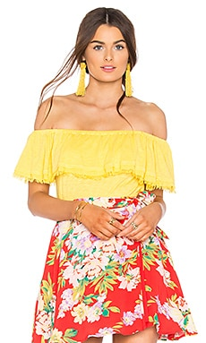 Off Shoulder Ruffle Top in Lemon Drop