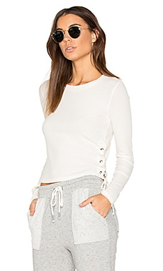 Drapey Lux Rib Top in Bone