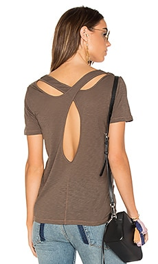 Cross Back Slub Tee in Military Olive