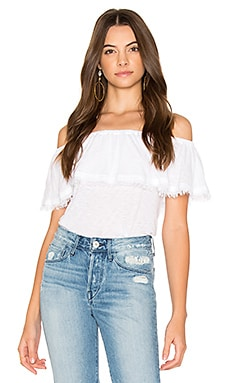 Off Shoulder Ruffle Top in White