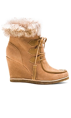 Splendid Targan Bootie with Faux Fur Cuff in Tan
