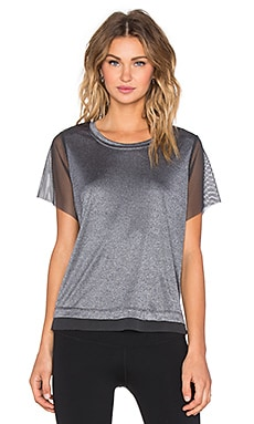 Splits59 Jackie Mesh Sleeve Tee in Heather Grey & Dark Grey