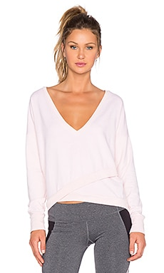 Splits59 August V Neck Wrap Pullover in Blush