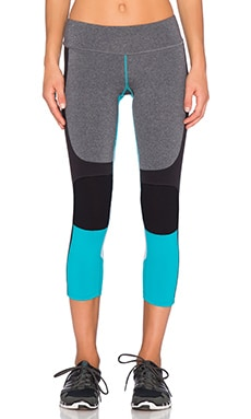 Splits59 Matrix Capri Pant in Heather Grey, Black & Aquamarine