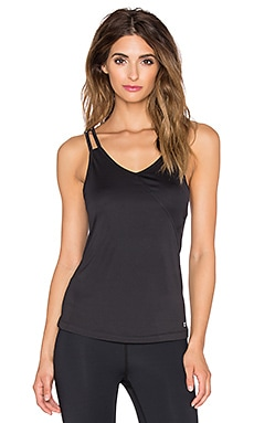 Splits59 Alana Drape Cross Back Tank in Black