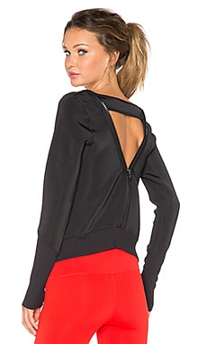 Splits59 Quinn Noir Open Back Zip Pullover in Black