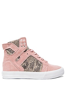 Supra x Elyse Walker Skytop Wedge Sneaker in Pink & Brown & White