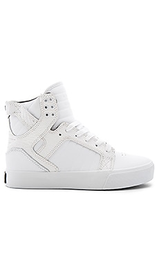 Supra Skytop Hi Top Sneaker in White Croc Embossed Leather