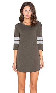 Spiritual Gangster 3/4 Sleeve Tee Dress in Army Green & Heather Grey
