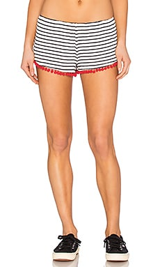 Stripe Pom Pom Short in Navy
