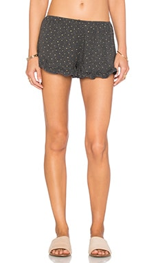 Spiritual Gangster Mini Star Print Ruffle Short in Vintage Black