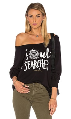 Spiritual Gangster Soul Searcher Tribal Muse Off Shoulder Pullover in Black