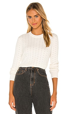 Nikki Pointelle Crop Sweater Spiritual Gangster $98