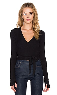 Spiritual Gangster Ballet Wrap Top in Black
