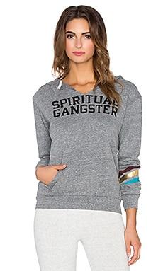 Spiritual Gangster Spiritual Gangster Varsity Pullover Hoodie in Heather Grey