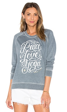 Peace Love Yoga Shurnken Sweatshirt in Denim