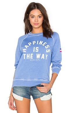 Happiness Is The Way Burnout Sweatshirt en Ultramarine