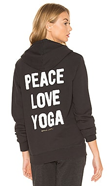Peace Love & Yoga Hoodie in Vintage Black