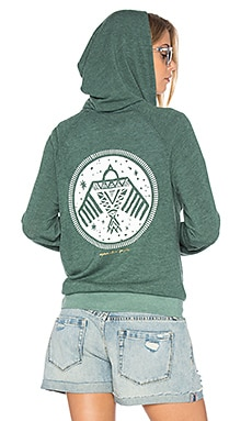 Native Bird Stamp Savasana Hoodie in Deep Sage