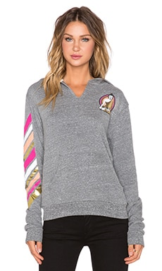 Spiritual Gangster Buddha Stripe Hoodie in Heather Grey