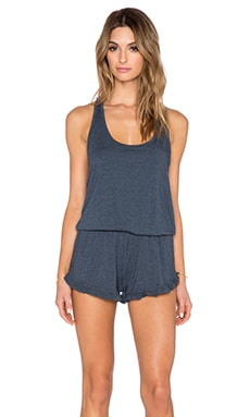 Spiritual Gangster Ruffle Short Romper in Free Blue