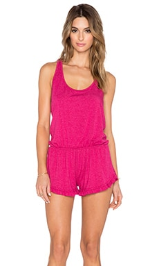 Spiritual Gangster Ruffle Short Romper in Pomegranate