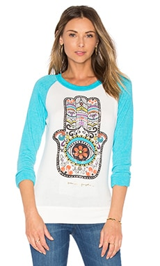 Hamsa Day Of The Dead Savasana Raglan Tee en Stardust & Turquoise
