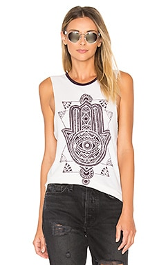 Stamp Hamsa Moon Rocker Tank in Cement