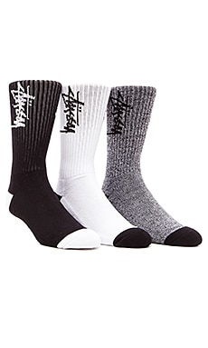 Stussy Stock 3 Pack Socks in Black & White, Black, White