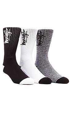 Stussy Stock 3 Pack Socks in Black & White, Black, White
