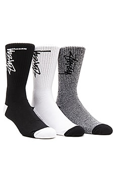 Stussy 3-Pack Stock Premium Socks in White, Black, Black/White