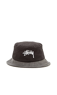 Stussy Stock Leather Brim Bucket Hat in Black