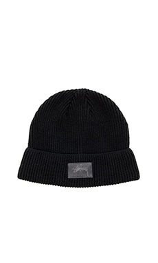 Stussy Leather Patch Beanie in Black