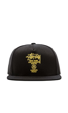 Stussy World Tour Lux Strapback in Black
