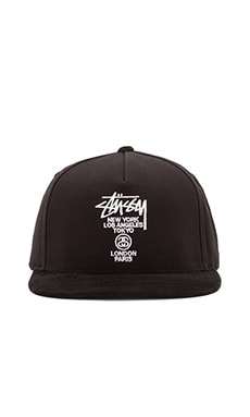 Stussy World Tour Snapback in Black