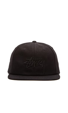 Stussy Stock Canvas Snapback in Black
