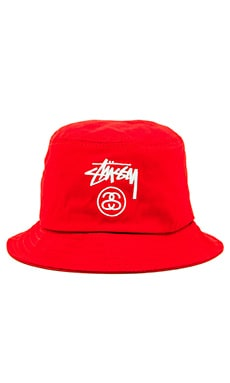 Stussy Stock Lock SU15 Bucket Hat in Red