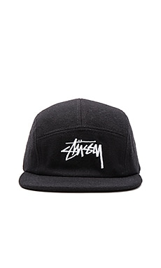 Stussy Stock Wool Camp Cap in Black