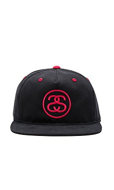 Stussy SS Link Contrast Snapback in Black