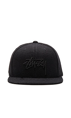 Stussy Stock Tonal Wool Snapback in Black