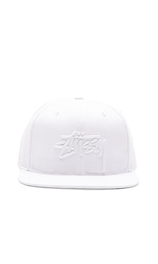 Stussy Stock Seersucker Snapback in White
