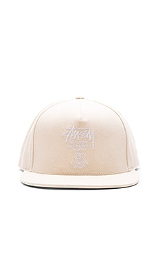 Stussy World Tour SP16 Canvas Snapback in Natural